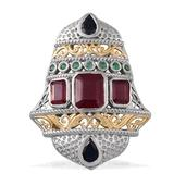 Royal Jaipur Niassa Ruby, Kanchanaburi Blue Sapphire, Kagem Emerald, Ruby 14K YG and Platinum Over Sterling Silver Pendant without Chain TGW 9.16 Cts.