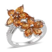 Santa Ana Madeira Citrine, White Topaz Platinum Over Sterling Silver Floral Ring (Size 6.0) TGW 4.100 cts.