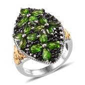 Russian Diopside, Thai Black Spinel 14K YG and Platinum Over Sterling Silver Openwork Elongated Ring (Size 7.0) TGW 5.130 cts.