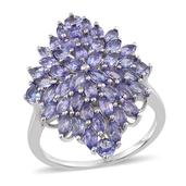 Tanzanite Platinum Over Sterling Silver Cluster Ring (Size 7.0) TGW 4.40 cts.