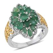 Kagem Zambian Emerald 14K YG and Platinum Over Sterling Silver Ring (Size 10.0) TGW 3.13 cts.