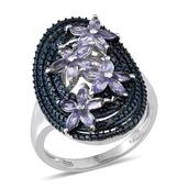 Tanzanite, Blue Diamond Platinum Over Sterling Silver Ring (Size 7) TDiaWt 0.05 cts, TGW 1.450 cts.