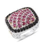 Niassa Ruby, Thai Black Spinel 14K YG and Platinum Over Sterling Silver Ring (Size 7.0) TGW 5.600 cts.