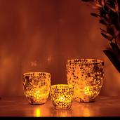 Multi Color Mosaic Glass Set of 3 Tea Light Holders