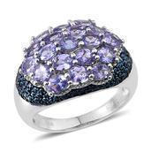 Tanzanite, Blue Diamond Platinum Over Sterling Silver Ring (Size 7.0) TDiaWt 0.01 cts, TGW 3.810 cts.