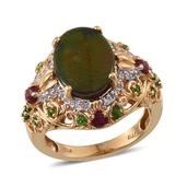 Canadian Ammolite, Ruby, Russian Diopside, White Topaz 14K YG Over Sterling Silver Ring (Size 8.0) TGW 5.05 cts.
