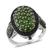 Russian Diopside, Thai Black Spinel Platinum Over Sterling Silver Ring (Size 8.0) TGW 3.825 cts.