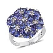 Tanzanite, White Zircon Platinum Over Sterling Silver Ring (Size 6) TGW 6.015 cts.