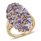 Tanzanite, White Topaz 14K YG Over Sterling Silver Ring (Size 5.0) TGW 5.502 cts.