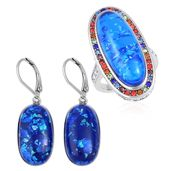 TLV Lab Created Blue Opal, Multi Color Austrian Crystal Stainless Steel Halo Ring (Size 8) and Lever Back Earrings TGW 23.00 cts.