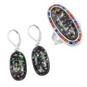 TLV Lab Created Black Opal, Multi Color Austrian Crystal Stainless Steel Halo Ring (Size 5) and Lever Back Earrings TGW 23.00 cts.