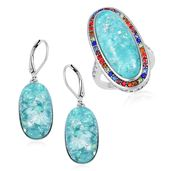 TLV Lab Created Green Opal, Multi Color Austrian Crystal Stainless Steel Halo Ring (Size 9) and Lever Back Earrings TGW 23.00 cts.