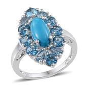 Arizona Sleeping Beauty Turquoise, Electric Blue Topaz Platinum Over Sterling Silver Ring (Size 10.0) TGW 5.950 cts.