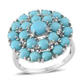 Arizona Sleeping Beauty Turquoise, White Topaz Platinum Over Sterling Silver Victorian Style Ring (Size 7.0) TGW 5.520 cts.
