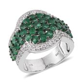Kagem Zambian Emerald, White Topaz Platinum Over Sterling Silver Ring (Size 7.0) TGW 4.340 cts.
