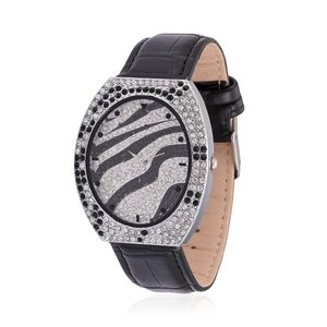 STRADA Austrian Crystal Japanese Movement Zebra Stripes Watch in Silvertone with Black Genuine Leather Band and Stainless Steel Back