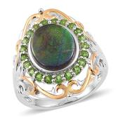 Canadian Ammolite, Russian Diopside 14K YG Over and Sterling Silver Openwork Ring (Size 7.0) TGW 3.850 cts.