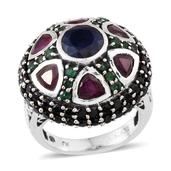 Royal Jaipur Kanchanaburi Blue Sapphire, Multi Gemstone Sterling Silver Dome Ring (Size 7.0) TGW 9.30 cts.