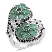Kagem Zambian Emerald, Thai Black Spinel Platinum Over Sterling Silver Ring (Size 8.0) TGW 4.000 cts.