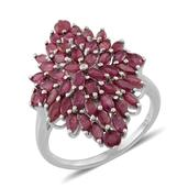 Niassa Ruby Platinum Over Sterling Silver Incredible Cluster Ring (Size 7.0) TGW 4.600 cts.