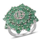 Kagem Zambian Emerald Platinum Over Sterling Silver Ring (Size 7.0) TGW 6.220 cts.