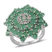 Kagem Zambian Emerald Platinum Over Sterling Silver Ring (Size 8.0) TGW 6.220 cts.