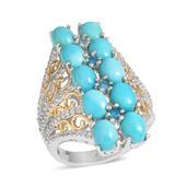 Arizona Sleeping Beauty Turquoise, White Topaz, Malgache Neon Apatite Elongated 14K YG and Platinum Over Sterling Silver Ring (Size 9.0) TGW 10.070 cts.