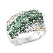 Brazilian Emerald, White Topaz 14K YG and Platinum Over Sterling Silver Ring (Size 6.0) TGW 3.260 cts.