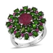 Niassa Ruby, Russian Diopside Platinum Over Sterling Silver Bold Floral Ring (Size 7.0) TGW 9.500 cts.