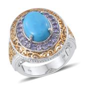 Arizona Sleeping Beauty Turquoise, Tanzanite 14K YG and Platinum Over Sterling Silver Bold Ring (Size 10.0) TGW 5.600 cts.