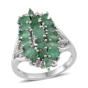 Kagem Zambian Emerald Platinum Over Sterling Silver Ring (Size 7.0) TGW 2.84 cts.