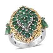 Kagem Zambian Emerald 14K YG and Platinum Over Sterling Silver Ring (Size 6.0) TGW 4.100 cts.