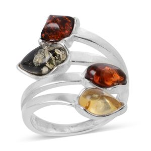 Baltic Multi Color Amber Sterling Silver Elongated Ring (Size 5.0)
