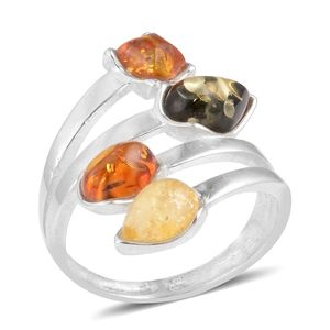 Baltic Multi Color Amber Sterling Silver Ring (Size 7.0)
