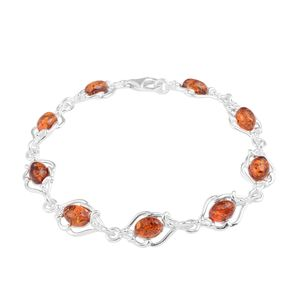 Baltic Cognac Amber Sterling Silver Bracelet (7.00 In)