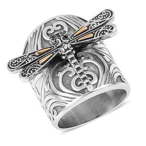 Stainless Steel Dragonfly Ring (Size 10.0)