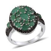 Kagem Zambian Emerald, Thai Black Spinel Platinum Over Sterling Silver Cluster Ring (Size 8.0) TGW 4.350 cts.