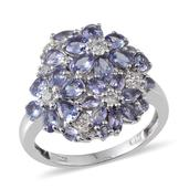 Tanzanite, White Topaz Platinum Over Sterling Silver Ring (Size 6.0) TGW 3.310 cts.