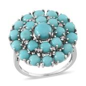 Sonoran Blue Turquoise, Diamond Platinum Over Sterling Silver Ring (Size 7.0) TDiaWt 0.05 cts, TGW 7.21 cts.