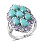Sonoran Blue Turquoise, Tanzanite Platinum Over Sterling Silver Ring (Size 8.0) TGW 7.06 cts.