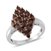 Mocha Zircon Platinum Over Sterling Silver Ring (Size 8.0) TGW 4.000 cts.