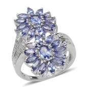 Tanzanite, Diamond Platinum Over Sterling Silver Floral Ring (Size 9) TDiaWt 0.02 cts, TGW 5.000 cts.