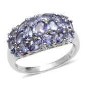 Tanzanite Platinum Over Sterling Silver Ring (Size 8.0) TGW 3.428 cts.