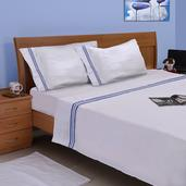 Homesmart Hotel Collection - 300 Thread Count White Sheet Set with Blue Tuxedo Stripes (King)