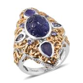 Royal Jaipur Tanzanite, Ruby 14K YG and Platinum Over Sterling Silver Elongated Ring (Size 7.0) TGW 11.199 cts.