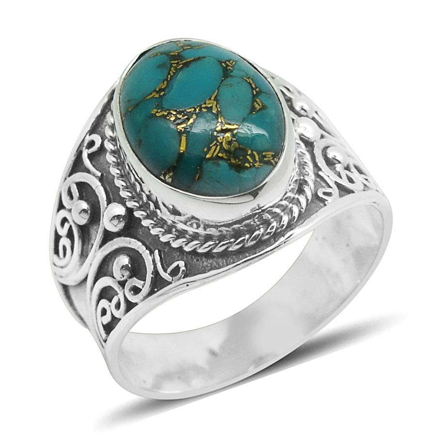 Bali Legacy Collection Mojave Blue Turquoise Sterling Silver Ring (Size 10.0) TGW 5.500 cts.