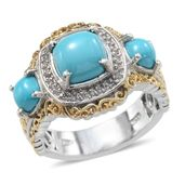Arizona Sleeping Beauty Turquoise, White Topaz 14K YG and Platinum Over Sterling Silver Fancy Ring (Size 9.0) TGW 2.910 cts.