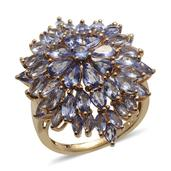 Tanzanite 14K YG Over Sterling Silver Cluster Ring (Size 7.0) TGW 6.178 cts.