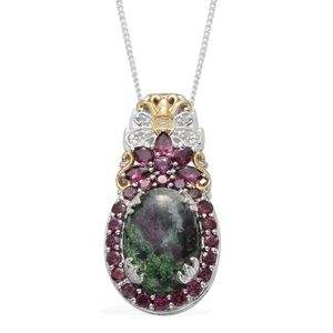 Ruby Zoisite, Orissa Rhodolite Garnet, Diamond 14K YG and Platinum Over Sterling Silver Pendant With Chain (20 in) TDiaWt 0.02 cts, TGW 15.610 cts.