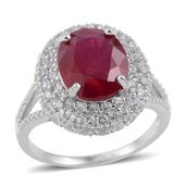 Niassa Ruby, White Topaz Sterling Silver Ring (Size 9.0) TGW 9.100 cts.